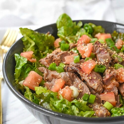 Skirt Steak Salad with a lovely Ginger Dressing