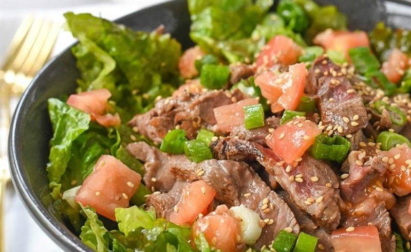 Skirt Steak Salad with a lovely Ginger Dressing