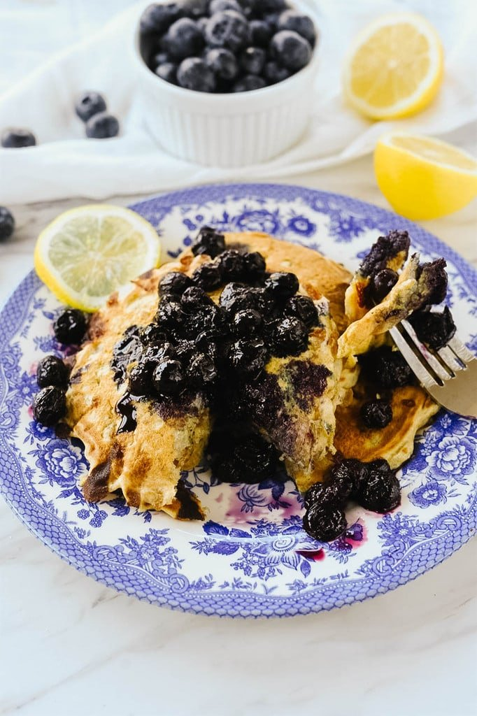 Lemon Pancakes with blueberries