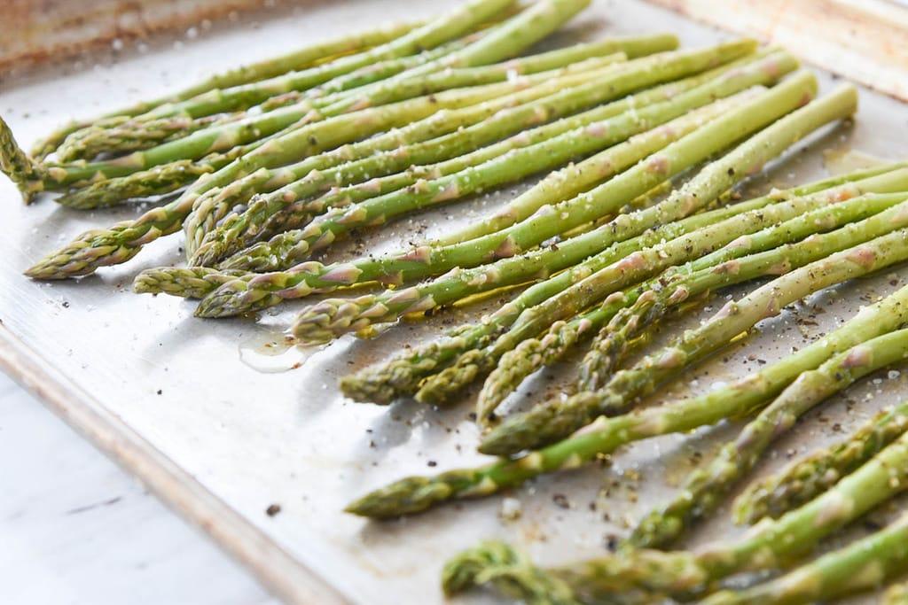 Balsamic Asparagus on a roasting pan