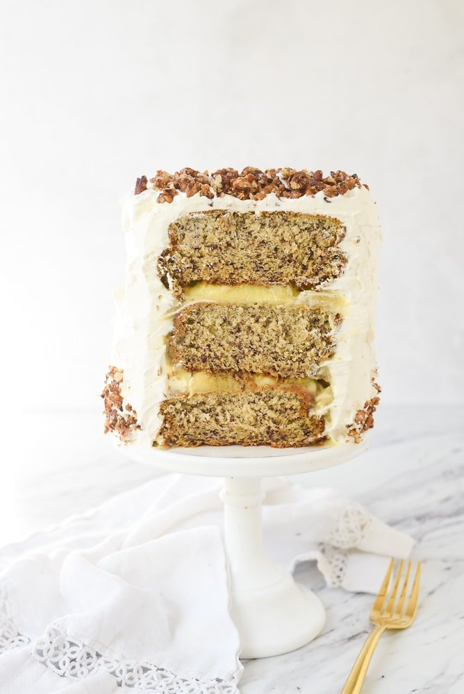 side view of a banana cake
