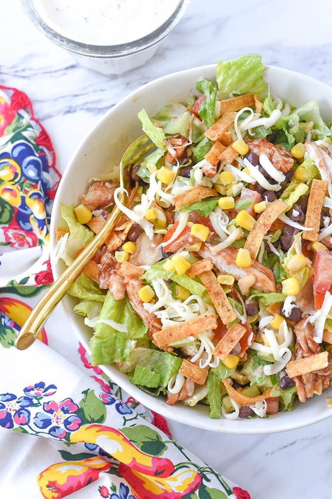 BBQ Chicken Salad with tortilla strips