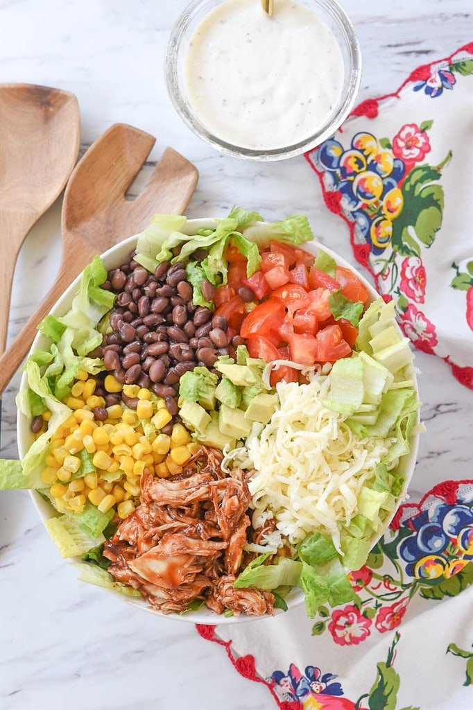 BBQ Chicken Salad with black beans and corn