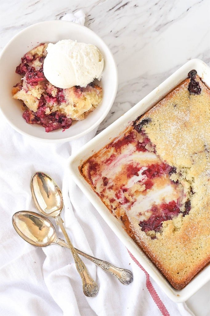 marionberry cobbler being dished up