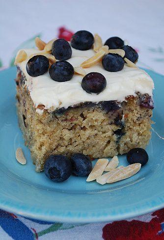 Blueberry Banana Cake with Lemon Cream Cheese Frosting