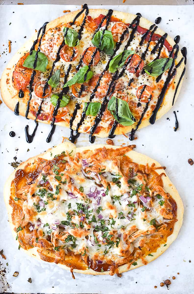 overhead shot of two flatbread pizzas