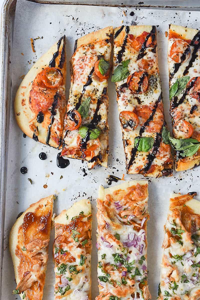 sliced pizza flatbread