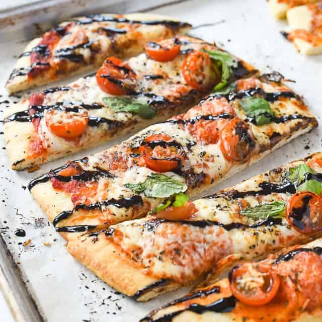 sliced margherita flatbread