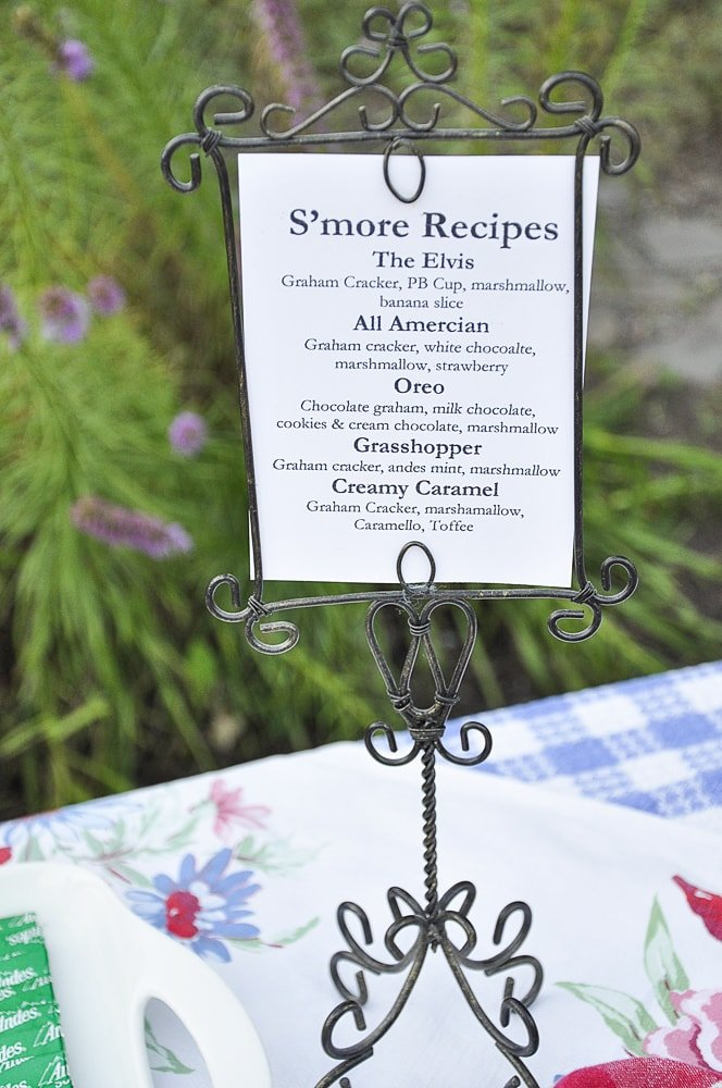 s'mores bar menu