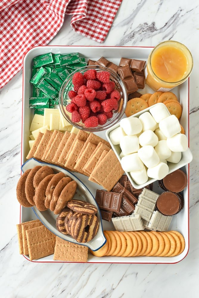 overhead shot of s'mores snack board