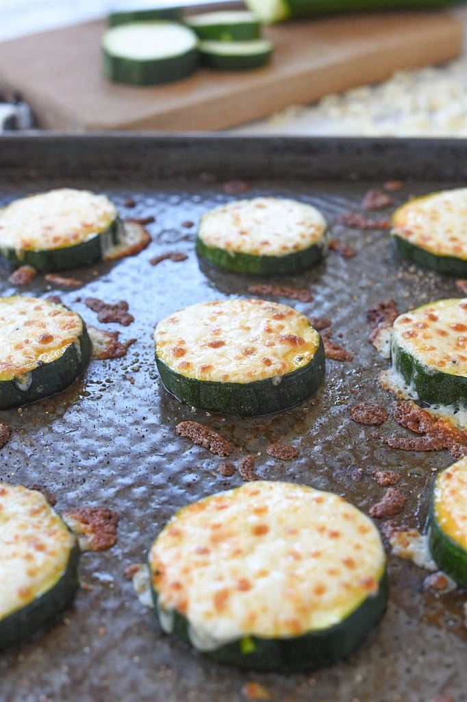 baked zucchini and mozzarella on a hot baking sheet