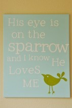 His Eye is on the Sparrow Canvas