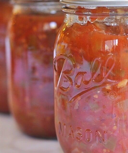jars of canned salsa