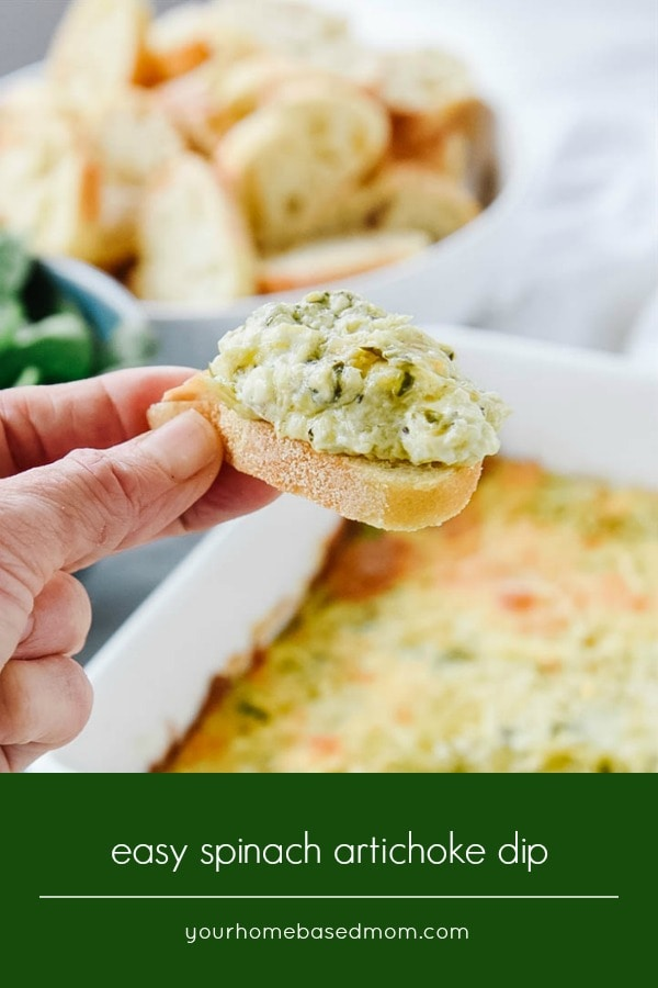 Spinach Artichoke Dip on a baguette