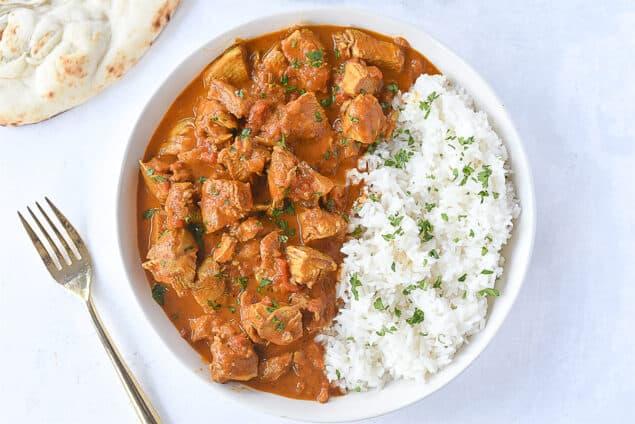 bowl of rice and tikka masala