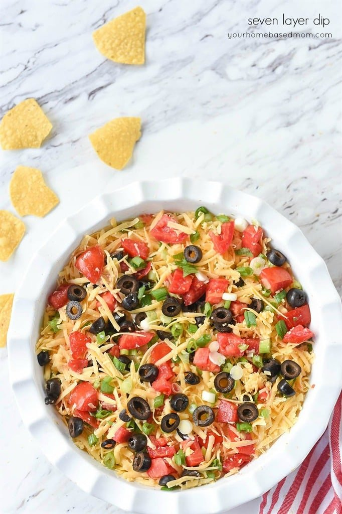 seven layer dip with tortilla chips