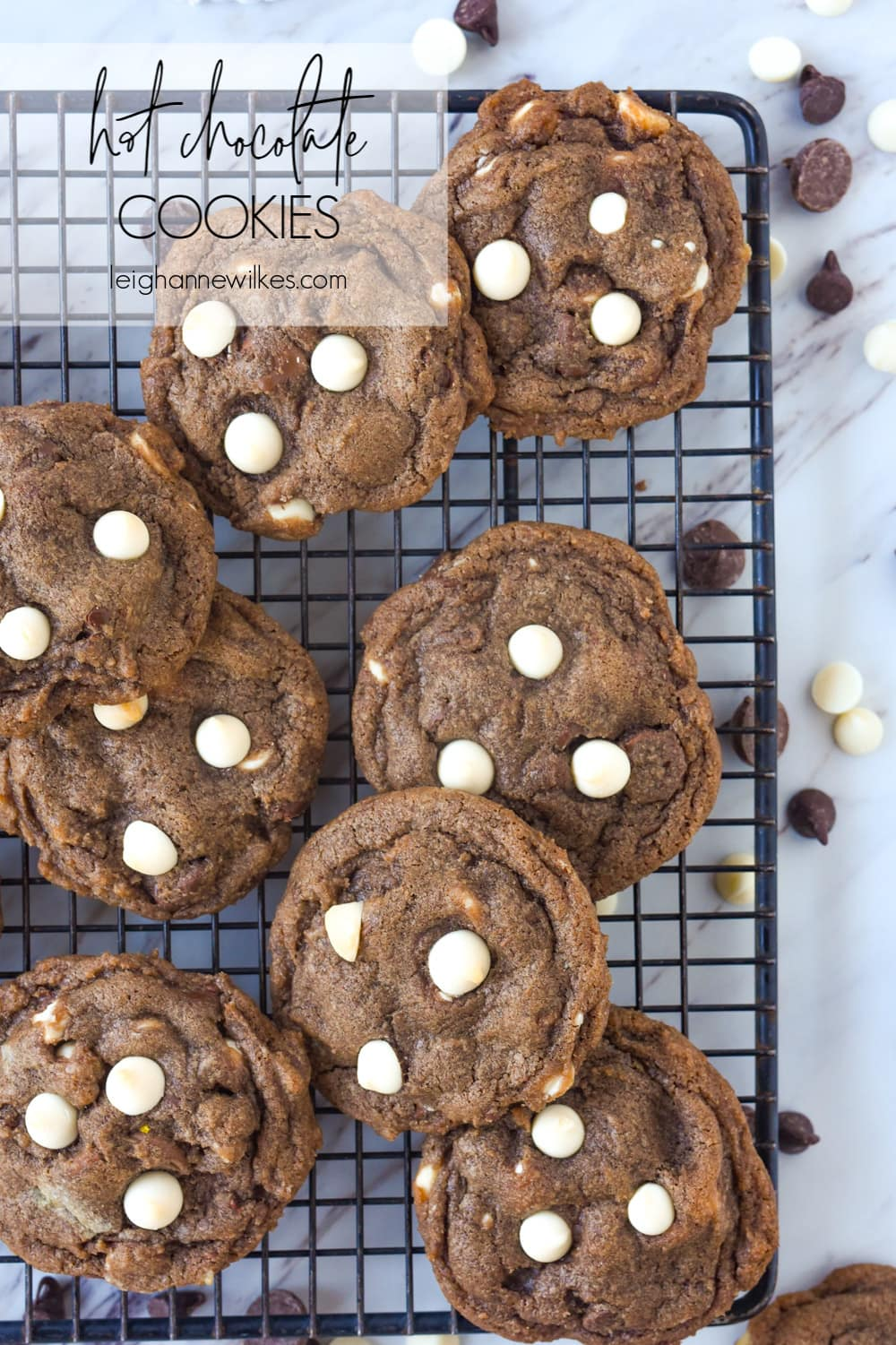 overhead shot of hot chocolate cookies on a cooling rack
