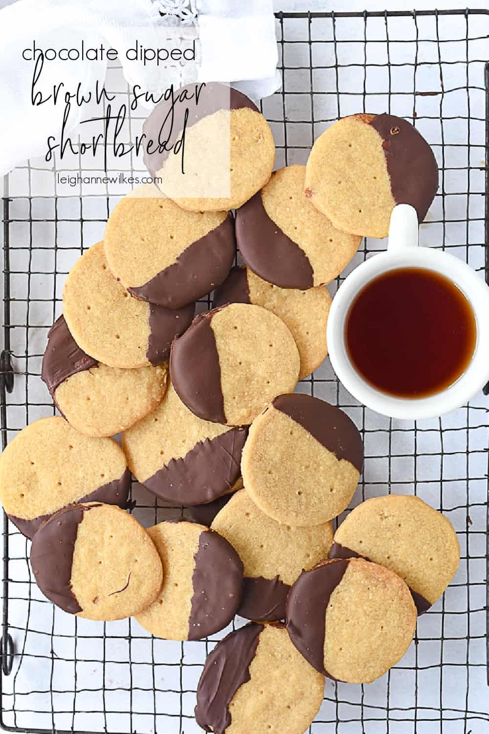 shortbread cookies on a cooling rack