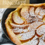 dutch baby with apples in pan