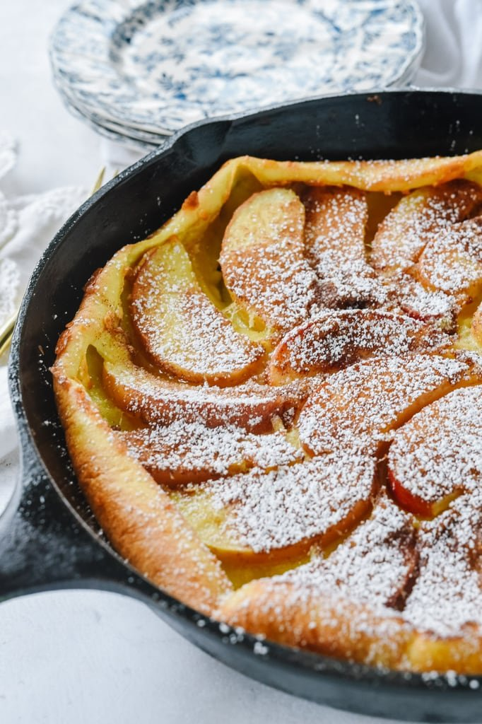 Apple Dutch Baby with powdered sugar