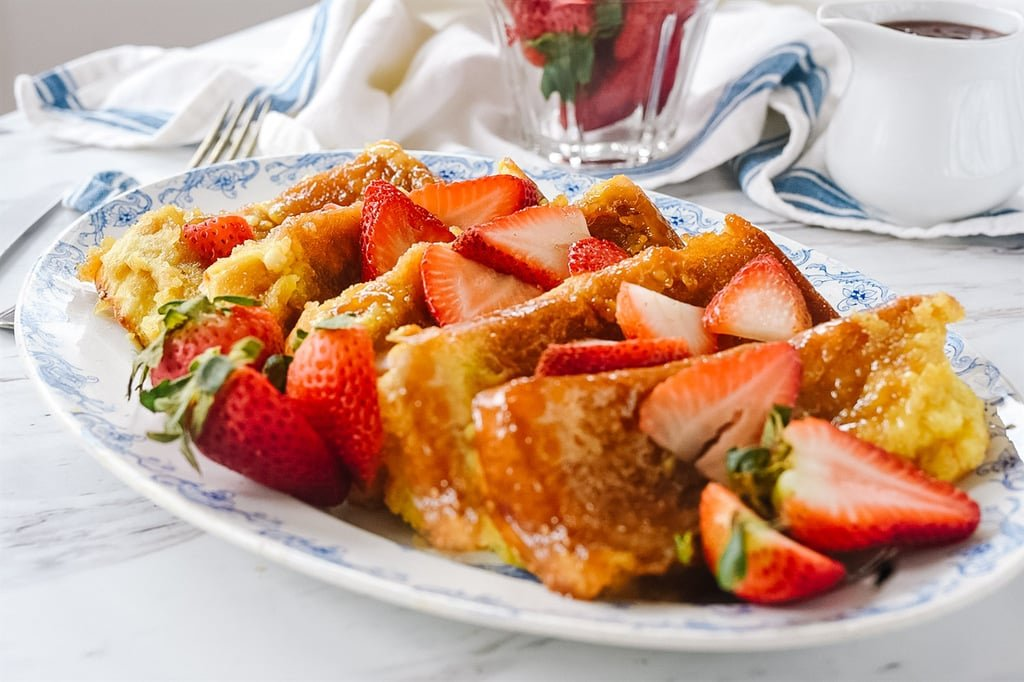 Creme Brulee French Toast with fresh strawberries