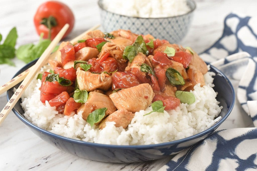 Thai Basil Chicken with tomatoes