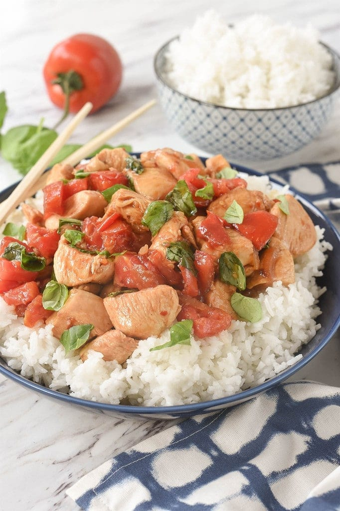 bowl of Thai Basil Chicken with over rice