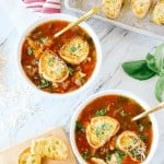 chicken parm soup in two bowls