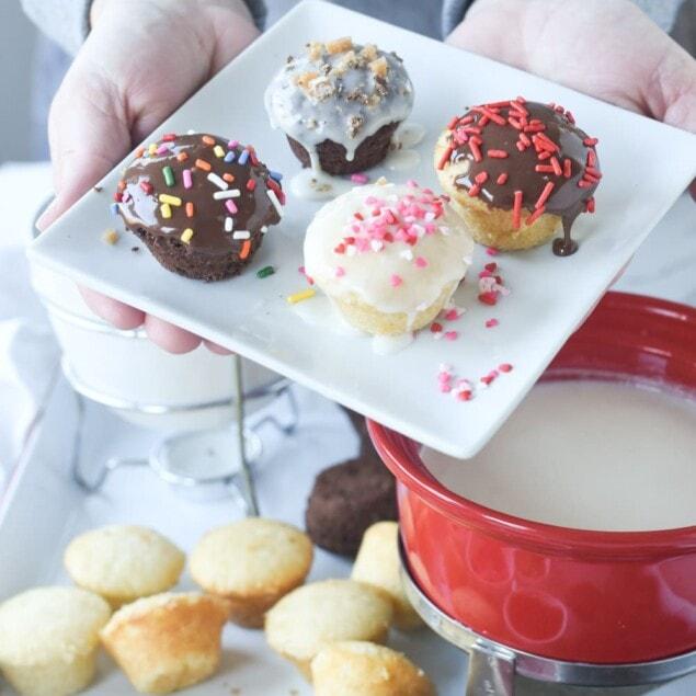 cupcake fondue with sprinkles