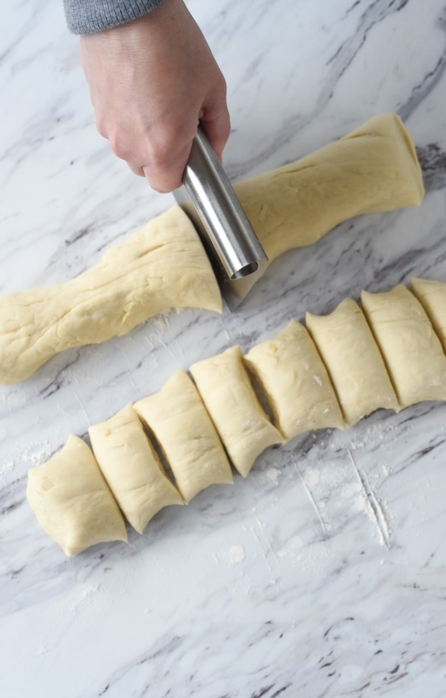 cutting breadstick dough