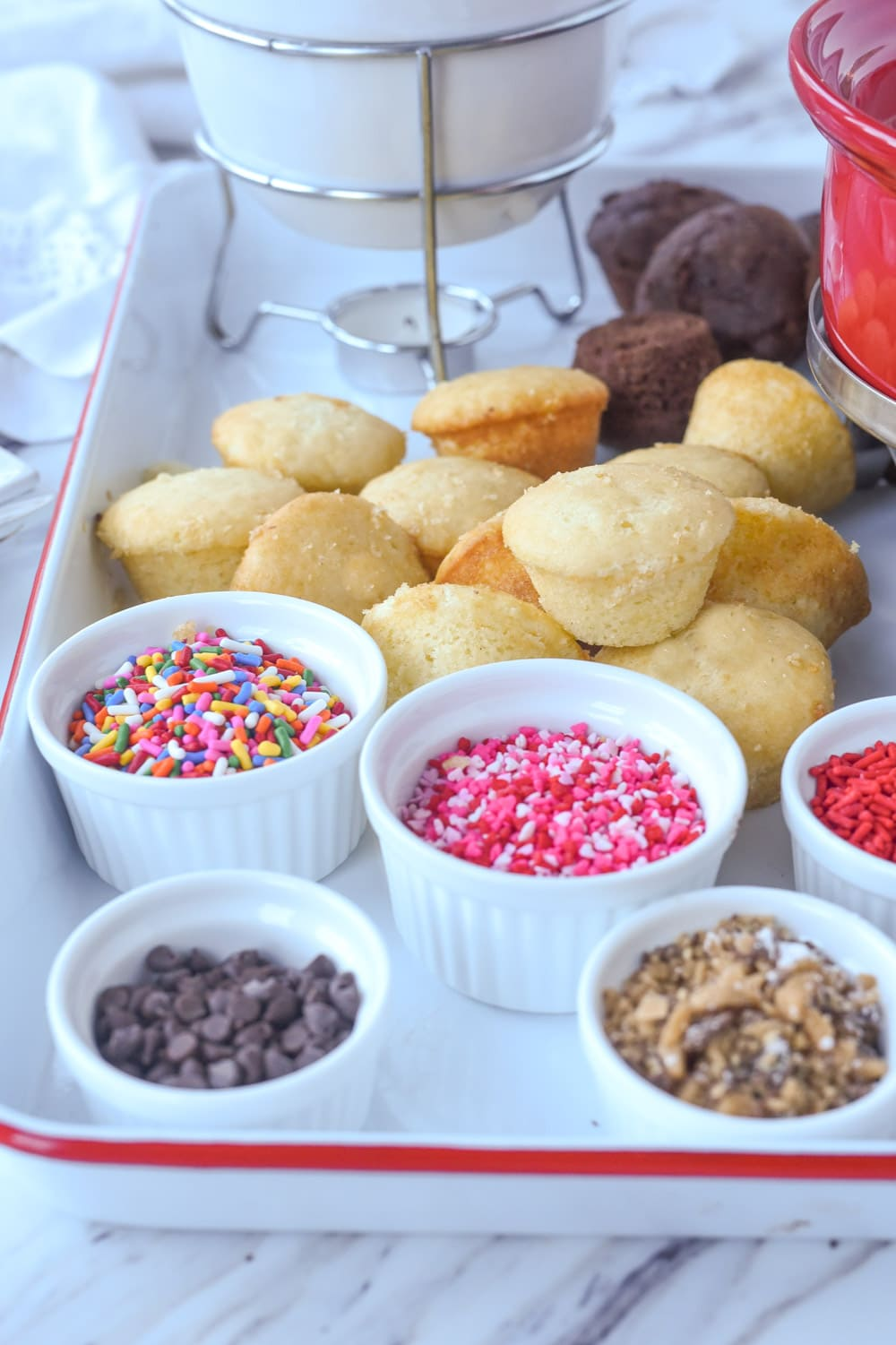 cupcake fondue with toppings