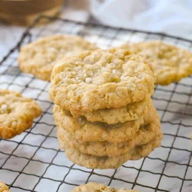 stack of salted white chocolate cookies