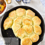 cast iron pan of biscuits