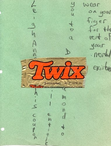 twix wrapper love note