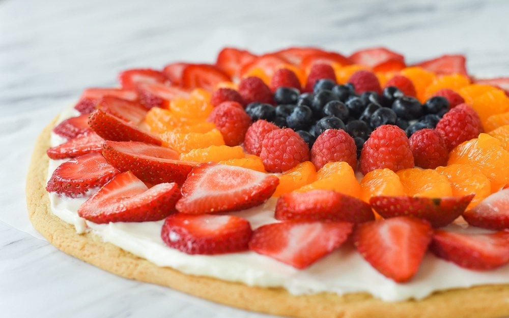 fruit on a fruit pizza