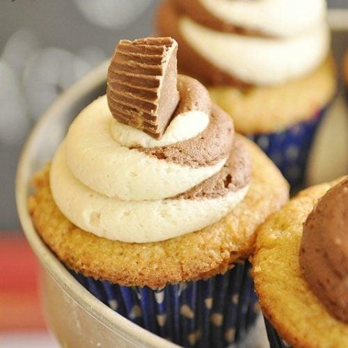 Peanut Butter – Chocolate Twist Cupcakes