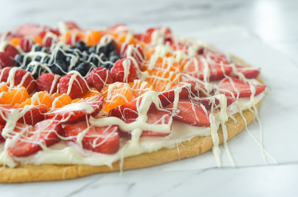 side view of fruit pizza
