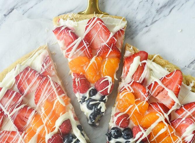slice of fruit pizza on a spatula