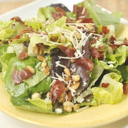 Proscuitto, Pine Nut and Spring Greens Salad