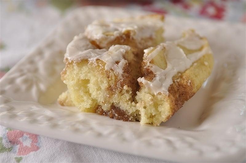 piece of cinnamon roll cake