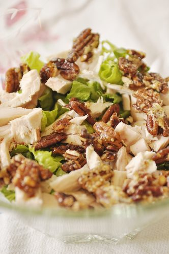 Layered Chicken Berry Salad - sugared pecans