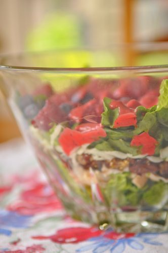 Layered Chicken Berry Salad