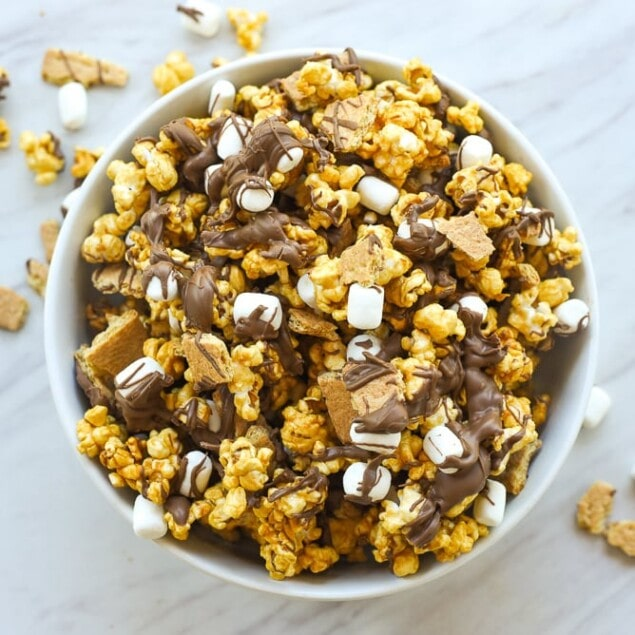overhead shot of smore popcorn in a bowl
