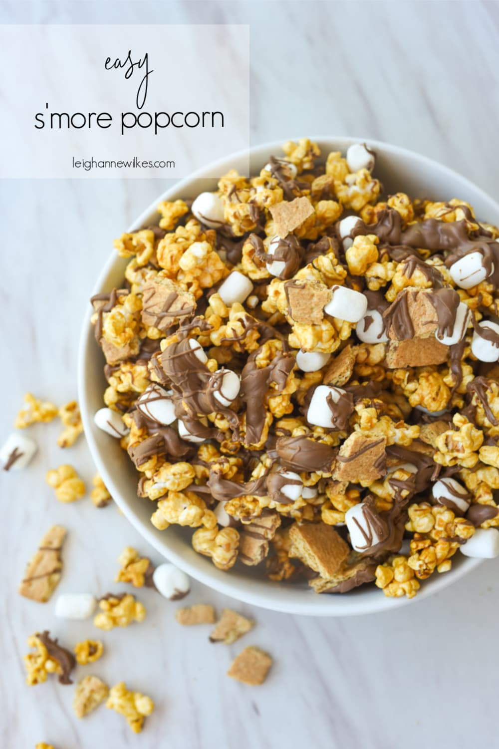 s'more popcorn in a white bowl