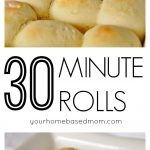 Homemade yeast rolls in just about 30 minutes is a reality! Recipe @yourhomebasedmom.com