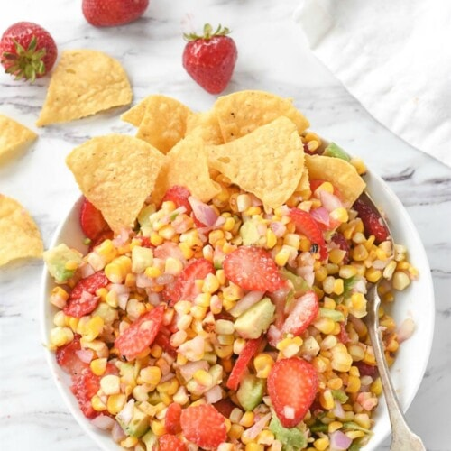Strawberry and Avocado Roasted Corn Salsa
