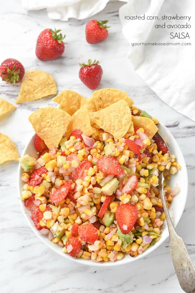 Roasted Corn Salsa with chips