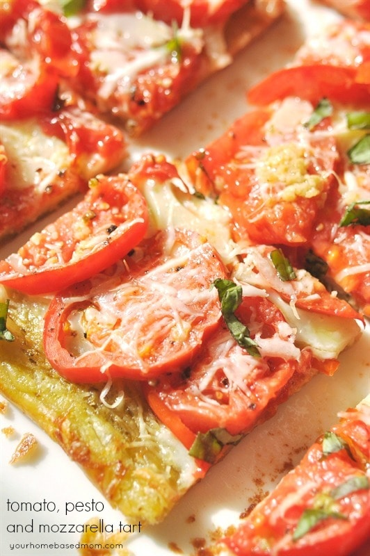 Tomato, Pesto and Mozzarella Tart
