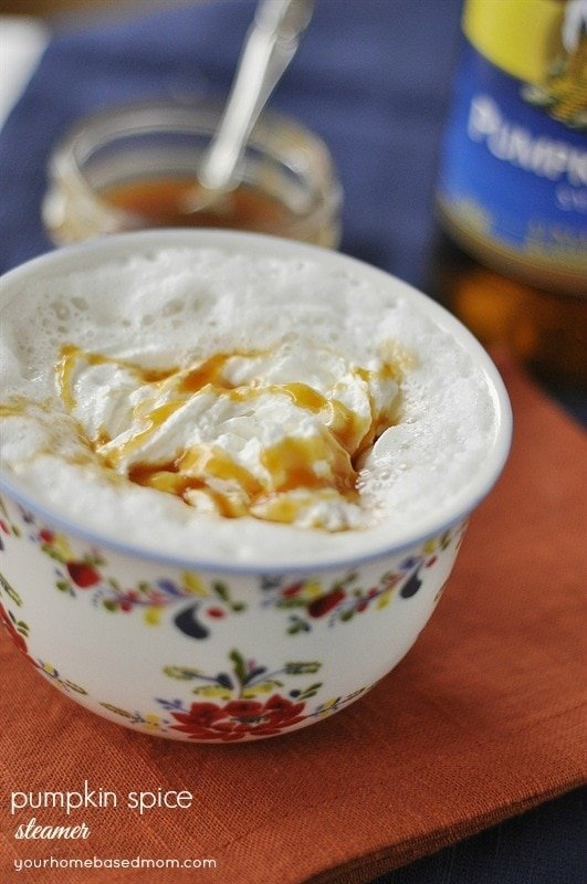 Pumpkin Spice Steamer with Caramel Sauce