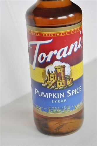 bottle of Torani pumpkin spice syrup